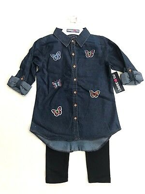 NWT Limited Too Girls 2 piece outfit, Leggings and Cotton Denim top, sz 7-12