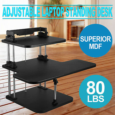 3 Tier Adjustabl-e Computer Standing Desk Double Poles Stand Up Home Office
