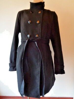 H&m Mama Maternity Black Double Breasted Funnel Neck Jacket Coat Size L 16-18
