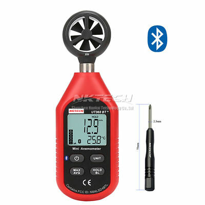 NKTECH UT363BT+ Bluetooth Digital Anemometer Gauge Wind/Speed Temp Meter w/ Tool