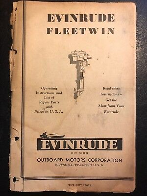 1954 EVINRUDE COMPLETE Parts Catalog List Manual Outboard Motor