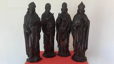 Four Antique Baroque Wood Carved Statue Wooden Carving Sculpture Museum Quality!