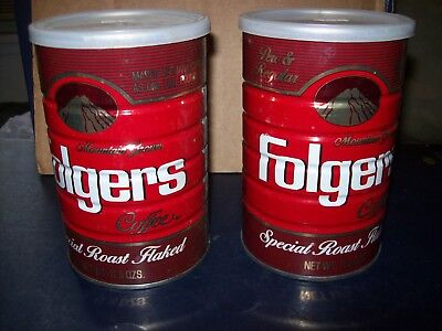 Folgers Mountain Grown Perc & Regular Coffee 11.5 Oz Can Lot Of 2 With Lids