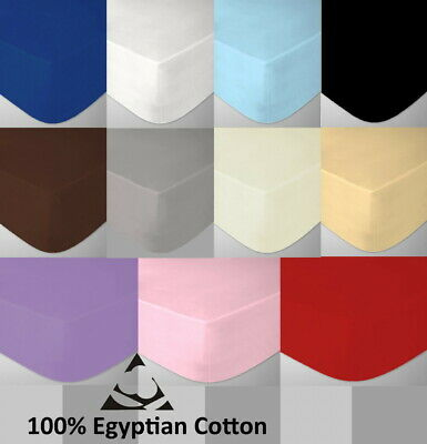 Egyptian Cotton Cot Bed Fitted Sheet 200 Thread Count, 70 x 140cm