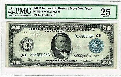 Fr. 1031a $50 1914 Federal Reserve Note PMG Very Fine 25. Tear.