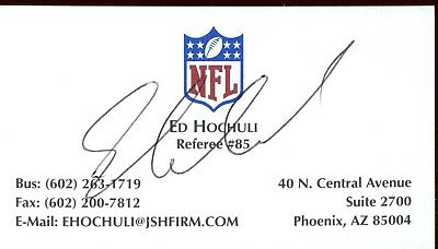 5d7809504 Ed Hochuli NFL Football Referee Signed Business Card Authentic Autograph  Auto
