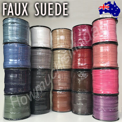 2.5m 3mm Faux Suede Cord Lace Thread String Enviro Leather Jewellery Beading