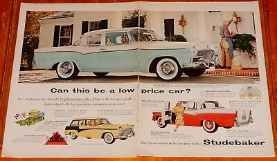 1956 Studebaker Commander 2 & 4 Door Sedan Wagon Large Ad - Vintage 50S American