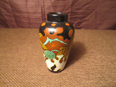 Gouda Art Pottery Vase by Schoonhoven Art Deco Period Signed Kastanie
