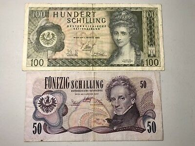 Austria old 50 and 100 Schillings world foreign paper money good condition