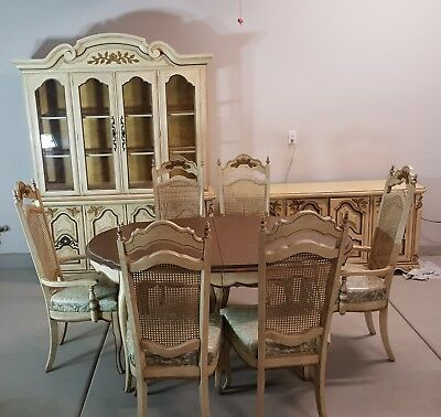 French Provincial Dining Room Set and Hutch Leaves Ivory 6 Chairs Mesh BasicWitz