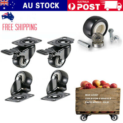 "2"" Heavy Duty Swivel Caster Wheels Castor Load 1000KG PU Brake with 360 Degree"