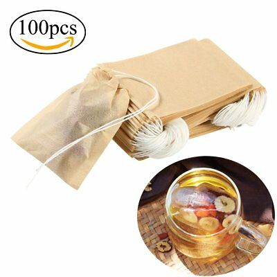 100Pcs Empty TEABAGS Non-Woven String Heat Seal Filter Paper Herb Loose Tea Bags