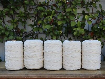 macrame rope 4mm 900m 5kg  string cord cotton 3 strand twisted natural beige