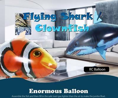 Blue Remote Control Flying Fish RC Plastic Inflatable Blimp Animal Balloon Toys