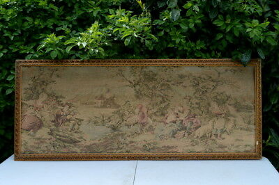 "Antique FRENCH CHATEAU Large Wall Hanging Tapestry  64"" x 24"" decor PRE 1930S"