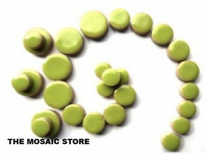 Kiwi Green Ceramic Discs - Round Tiles - Circles for Mosaic Art Craft