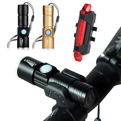 MTB Bike Bicycle Cycling USB Rechargeable LED Head Front Light Rear Tail Lamp UK