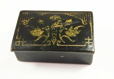 French antique Victorian black papier mache snuff box miniature gilt detail