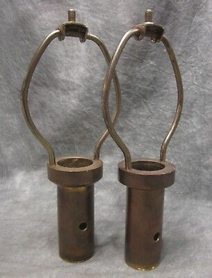 PAIR Vintage Heavy Cast Solid Brass Lamp/Light Harps with Open Bottom Cups