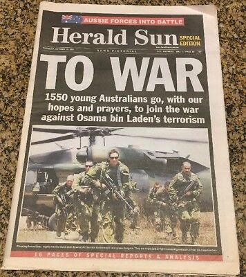 "Herald Sun  18.10.2001 ""To War"" Newspaper - unfolded - Clean Copy"