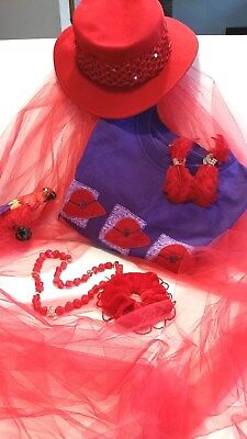 Red Hat Society Lot Jewelry Hat Shirt