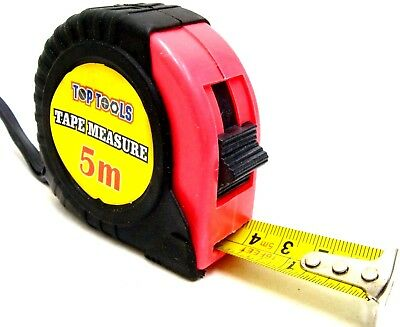Top Tools Pocket Tape Measure Tape Measuring Tape Blade 25mm 5m Rubber Grip New