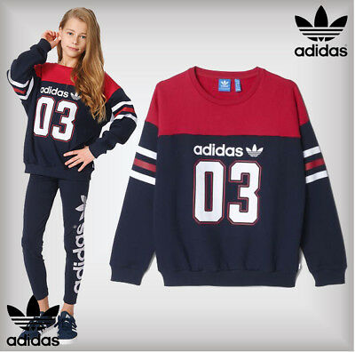 SALE - Adidas Age 6-7 Years Girls Trefoil J FR 03 Crew Sweater Navy Jumper