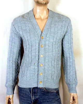 vtg 70s Jantzen Light Blue Cable Knit Wool Cardigan Sweater Mr Rogers  cobain M 8054f7b4a