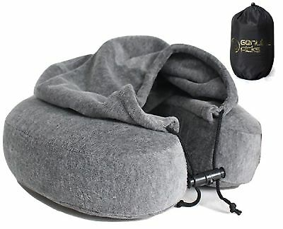 Luxury Quality Memory Foam Neck Travel Pillow with Hoodie. Stylish Carry Bag.
