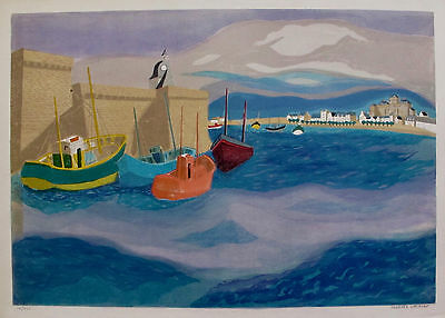 "GEORGES LAMBERT ""SEASIDE SAILBOATS"" Hand Signed Limited Edition Lithograph Art"