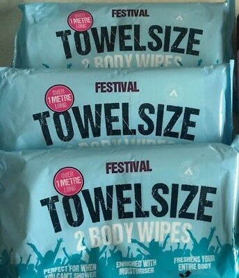 Festival/Camping 3 x 2 pack Towel Size Wet Wipes Over 1 metre long