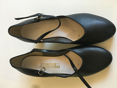 "Designs for Dance Women's Black Leather Tap Dance Shoes 2"" Heel - Mary Jane  9.5"