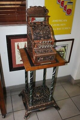 Early 1900s National Cash Register Mod 211 Brass Candy Register w/ Stand