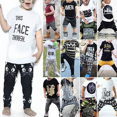 Toddler Kids Baby Boys Summer Casual Clothes T-shirt Tops&Pants Outfit 2Pcs Set