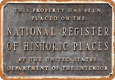 "7"" x 10"" Metal Sign - National Register of Historic Places - Vintage Look Reprod"