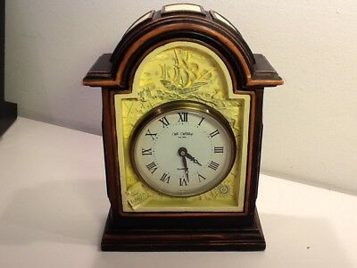 Vintage WM Widdop Cast Plaster 'Old World' panelled Mantel Clock,Quartz movement