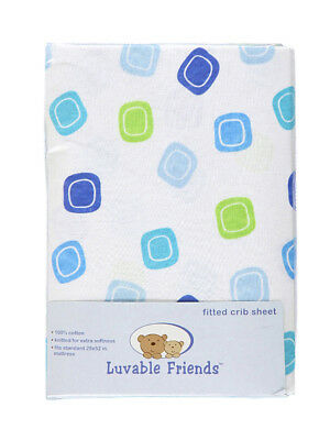 """Luvable Friends """"Squared Off"""" Fitted Crib Sheet (28"""" x 52"""")"""