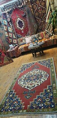 """Genuine Vintage 1950-1960s Vegy Dyes 4'x6'10"""" Wool Pile  Hand-Knotted Tribal Rug"""