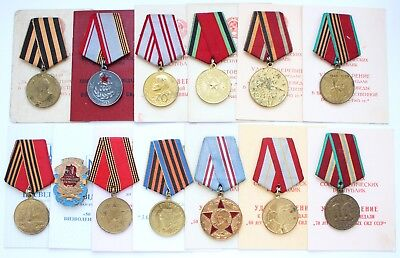13x Original USSR Russian Medals Victory Germany Soviet Armed Forces + DOC WWII
