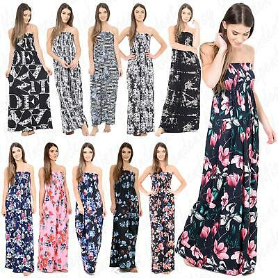 Womens Ladies Printed Summer Sheering Bandeau Boobtube Strapless Maxi Dress