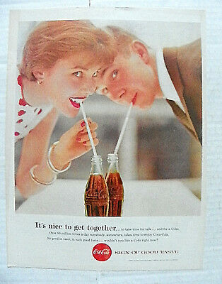 """1957,june Boy's Life Mag. """"it's Nice To Get Together"""" Couple Drinking Thru Straw"""