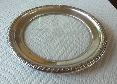 Vintage 925 Sterling Silver & Etched Crystal Glass Coaster OR Plate 5 Inches