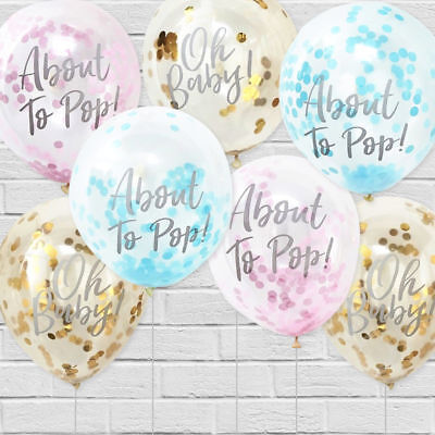 "Ginger Ray Baby Shower Gender Reveal Confetti Balloons Party Decoration 12"" PK 5"