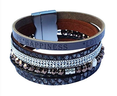 TreasureBay Women's, Girl's Fashion Crystal Leather Multi-Strand Bangle Bracelet