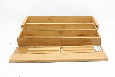 Seville Classics Bamboo Expandable 5 Large Compartment Adjustable Tray Organizer