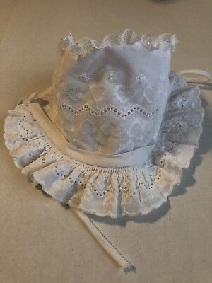 Vintage Baby Bonnet Frilly White Hearts Girls