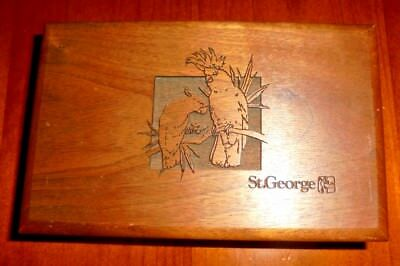 Collectable St George wooden box with Australian Cockatoo Birds engraved