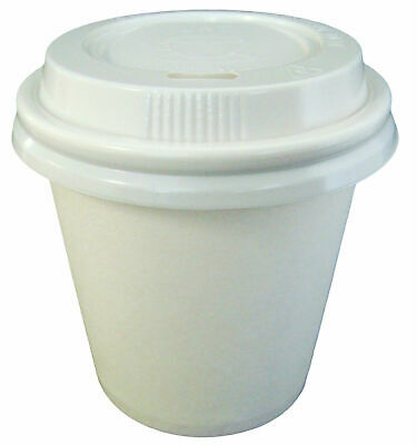 150 Sets 4oz White Single Wall Disposable Paper Coffee Cups And Lids 118ml