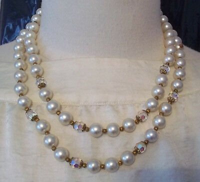 Double Strand Faux Pearl and Clear Crystal Necklace 18 in.